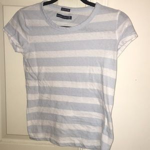 Pastel blue and white stripped A&F shirt